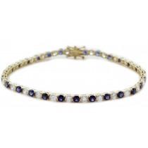 14K Yellow Gold Round Sapphire and Diamond Tennis Bracelet
