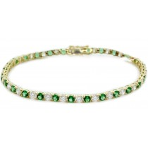 14K Yellow Gold Round Emerald and Diamond Tennis Bracelet