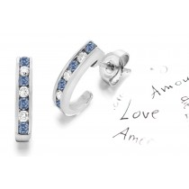 Entirely Different Colored Diamonds Designer Collection - Women's Blue Colored Diamonds & White Diamonds Fancy Blue Diamond Swinging Earrings