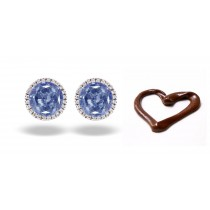 Fancy Colored Diamonds Designer Collection - Women's Blue Colored Diamonds & White Diamonds Fancy Blue Diamond Solitaire Earrings