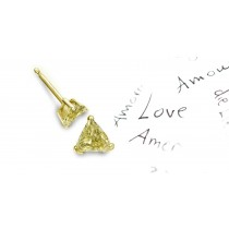 In Stock Colored Diamonds Designer Collection - Colored Diamonds & White Diamonds Trillion Yellow Diamond Earrings and Earscrews