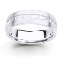 Platinum Channel Set Bagguette Diamonds Half Eternity Rings
