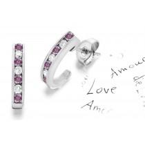 New Colored Diamonds Designer Collection - Women's Pink Colored Diamonds & White Diamonds Fancy Pink Diamond Swinging Earrings