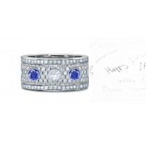 Sapphire Diamond Five Stone Rings