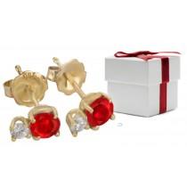 Ruby Earrings: Platinum & Gold Ruby Diamond Earring
