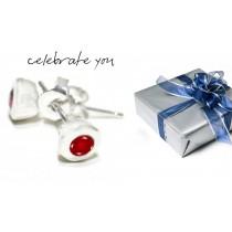Ruby Earrings: Platinum Ruby Round Bezel Set Earrings