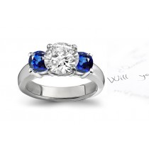 Beautiful Sapphire Three Stone Rings