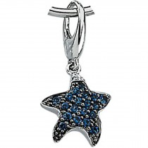 14K White Gold Charms Set with BLUE SAPPHIRE AND DIAMOND CHARM