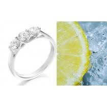 Unique Diamond Ring: Three-Stone (Ring with Three Round Diamonds) Rings in Platinum & 14K White Yellow Gold
