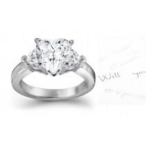 Diamond Anniversary Ring: Three-Stone Heart Diamond Rings in Platinum & 14K White Yellow Gold