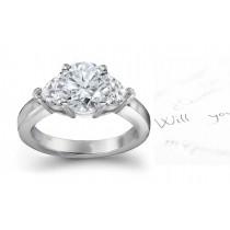 Three Stone Round Diamond & Side Heart Diamonds Three Stone Anniversary Ring