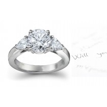 Three Stone Round Diamond & Side Pears Diamonds Three Stone Anniversary Ring