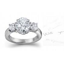 Three Stone Oval Diamond & Side Round Diamonds Three Stone Anniversary Ring
