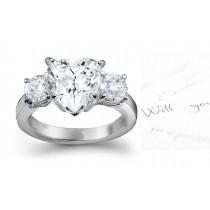 Three Stone Heart Diamond & Side Round Diamonds Three Stone Anniversary Ring
