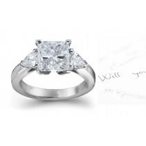 Three Stone Square Diamond & Side Pears Diamonds Three Stone Anniversary Ring