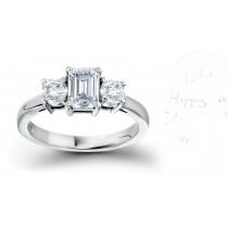 Three Stone Emerald Cut Diamond Side Round Diamonds Three Stone Anniversary Ring