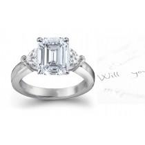 Three Stone Emerald Cut Diamond Side Heart Diamonds Three Stone Ring