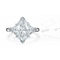 Center Marquise & Side Trillion Diamonds Three Stone Ring