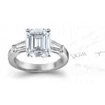 Center Octogon & Side Baguette Diamonds Ring