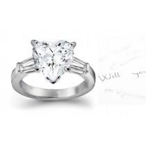 Center Heart & Side Baguette Diamonds Ring