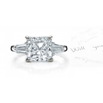 Center Square & Side Baguette Diamonds Three Stone Ring