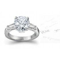 Center Round & Side Baguette Diamonds Three Stone Ring