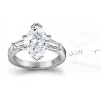 Marquise Baguette Diamonds Three Stone Ring