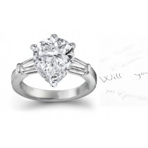 Center Pears & Side Baguette Diamonds Three Stone Ring