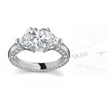 Center Heart & Side Heart Diamonds Three Stone Ring