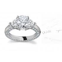Center Round & Side Heart Diamonds Three Stone Ring