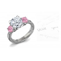 Premier Colored Diamonds Designer Collection - Pink Colored Diamonds & White Diamonds Fancy Pink Diamond Engagement Rings