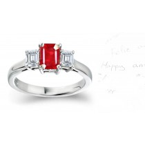 Three Stone Ruby Diamond Rings: Three Stone (Ruby & Diamond) Ring in Platinum