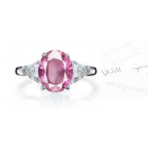 Superlative Pink Sapphire & Fancy Diamond Engagement Ring Availability: In stock