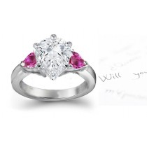 3 Stone Rare Deep Pink Pears Sapphire & Pears White Diamonds Ring in Gold