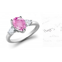 3 Stone Pears Sapphire & Pears White Diamonds Ring