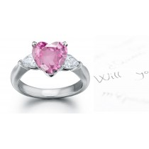 3 Stone Rare Deep Pink Heart Sapphire & Pears White Diamonds Ring