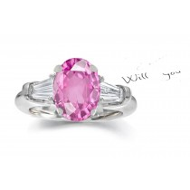 14k Gold Fine Deep Pink Oval Sapphire Tapered White Diamonds Ring