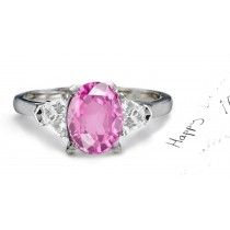 Fine Deep Pink Oval Sapphire & Trapezoid White Diamonds Ring in Platinum 950