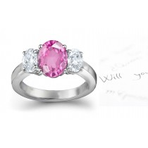 3 Stone Fine Deep Pink Oval Sapphire & Oval White Diamonds Ring