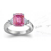 3 Stone Fine Deep Pink Emerald Cut Sapphire & Trillion White Diamonds Ring in Gold
