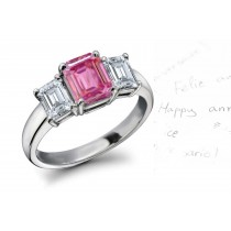 3 Stone Fine Deep Pink Emerald Cut Sapphire & White Diamonds Platinum Ring