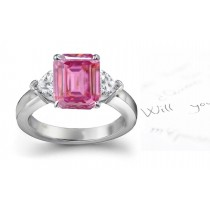 The Danube Collection: 3 Stone Ladies Pink Emerald Cut Sapphire & Heart White Diamonds Ring in Gold