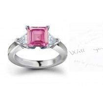 The Albanus Collection: 3 Stone Ladies Pink Square Sapphire & Trillion White Diamonds Ring