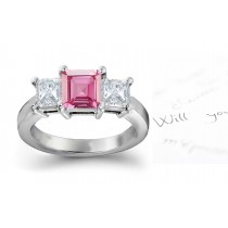 3 Stone Ladies Pink Square Sapphire & Princess Cut White Diamonds Ring