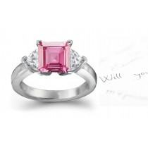 The Dalmatia Collection: 3 Stone Ladies Pink Square Sapphire & Heart White Diamonds Ring in Gold