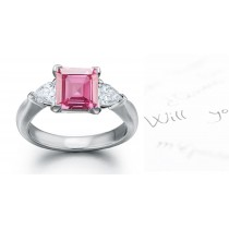The Taurus Collection: 3 Stone Ladies Pink Square Sapphire & Pears White Diamonds Ring in Gold