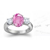 Monferrato Gallery: 3 Stone Ladies Pink Oval Sapphire & Round White Diamonds Ring in in 14k White Gold