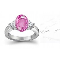 3 Stone Ladies Pink Sapphire & Heart White Diamonds Ring in Platinum & Gold