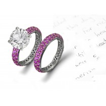 Monte Lupo Gallery: Pave Set Ladies Pink Sapphire Diamond Engagement & Wedding Rings