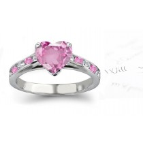 Prato Magno Gallery: Heart Ladies Pink Diamond & Sapphire Engagement Ring in Gold Ring